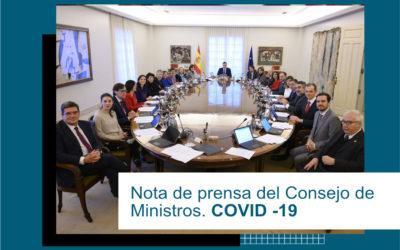 Nota de Prensa del Consejo de Ministros
