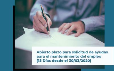 Abierto el plazo de solicitud de ayudas para el mantenimiento del empleo (15 Días hábiles desde el 30/03/2020)